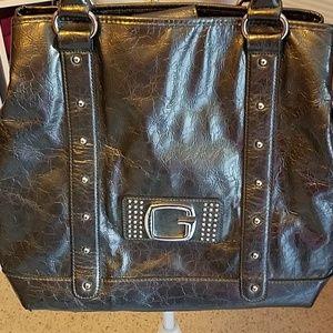 Guess Hippy Glam Shoulder Bag Color Pewter